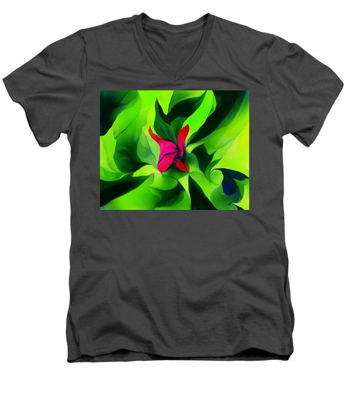 Men's V-Neck T-Shirt featuring the digital art Floral Abstract Play by David Lane