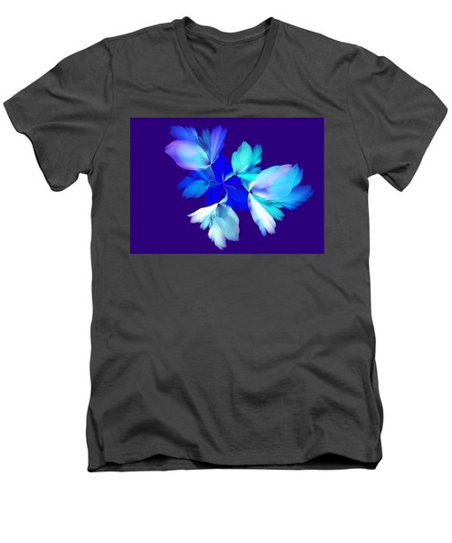 Men's V-Neck T-Shirt featuring the digital art Floral Fantasy 012815 by David Lane