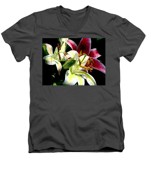 Men's V-Neck T-Shirt featuring the photograph Florals In Contrast by Ira Shander