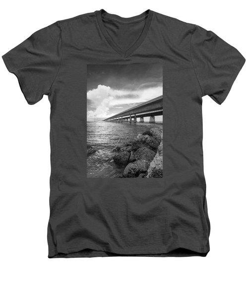 Florida Keys Seven Mile Bridge South Bw Vertical Men's V-Neck T-Shirt by Photographic Arts And Design Studio