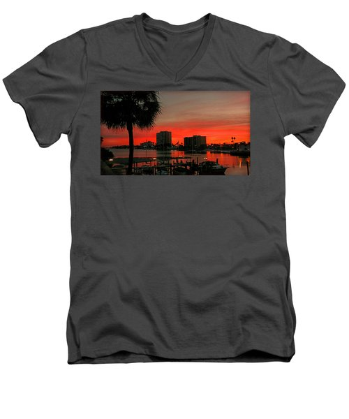 Men's V-Neck T-Shirt featuring the photograph Florida Sunset by Hanny Heim