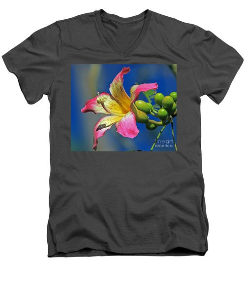 Men's V-Neck T-Shirt featuring the photograph Floss Silk Bloom by Larry Nieland