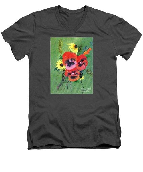 Flower Bunch Men's V-Neck T-Shirt by Francine Heykoop