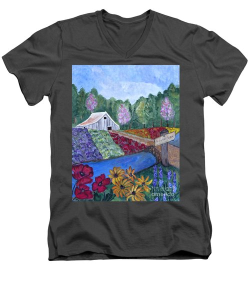 Men's V-Neck T-Shirt featuring the painting Flower Farm -poppies Daisies Lavender Whimsical Painting by Ella Kaye Dickey