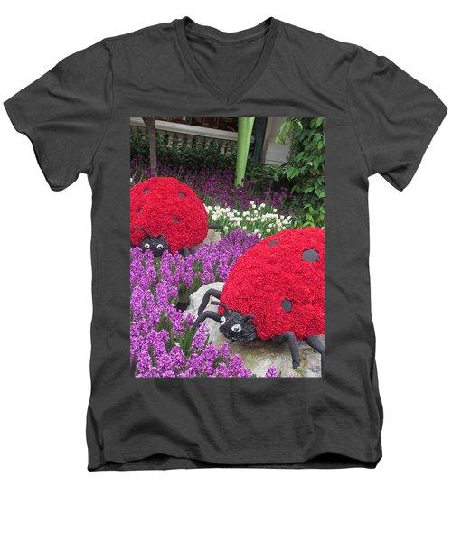 Men's V-Neck T-Shirt featuring the photograph Flower Garden Ladybug Purple White I by Navin Joshi