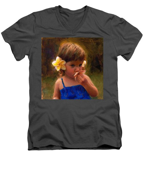 Flower Girl - Tropical Portrait With Plumeria Flowers Men's V-Neck T-Shirt