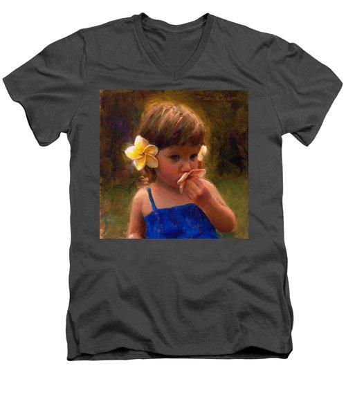 Flower Girl - Tropical Portrait With Plumeria Flowers Men's V-Neck T-Shirt