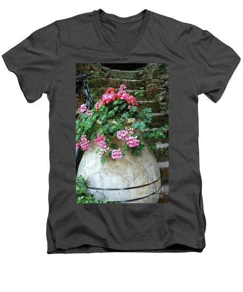 Men's V-Neck T-Shirt featuring the photograph Flower Pot 8 by Allen Beatty
