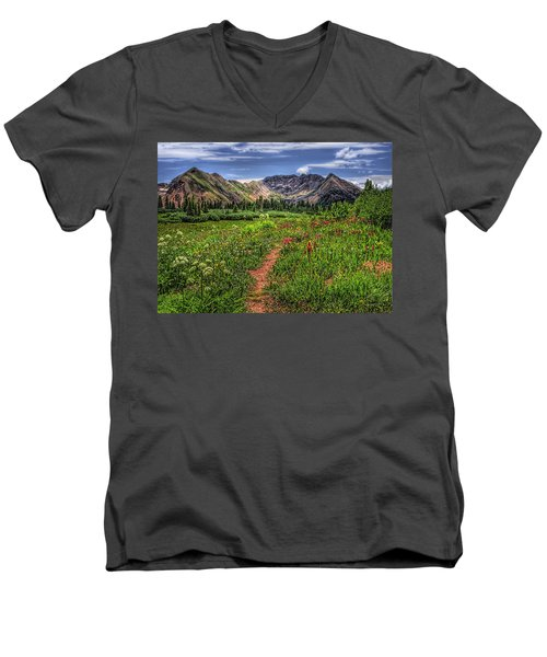 Men's V-Neck T-Shirt featuring the photograph Flower Walk by Priscilla Burgers
