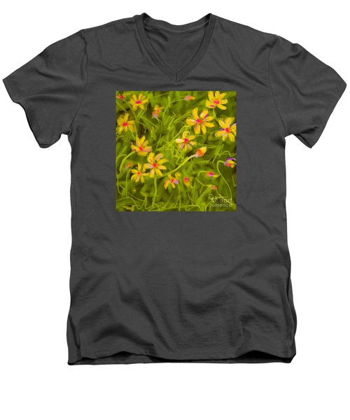 Men's V-Neck T-Shirt featuring the painting Flowerfield by Go Van Kampen
