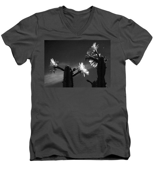 Men's V-Neck T-Shirt featuring the photograph Flowering Cactus 4 Bw by Mariusz Kula