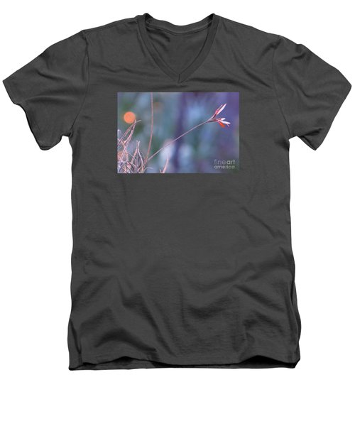 Men's V-Neck T-Shirt featuring the photograph Flowering Moss by Joy Hardee