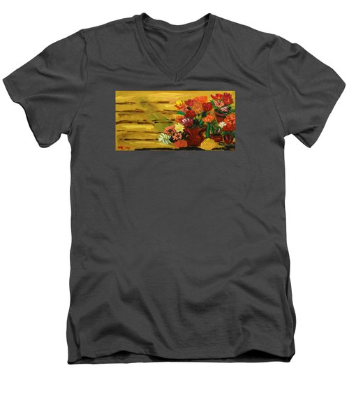 Flowers At The Side Of The House Men's V-Neck T-Shirt by Mary Carol Williams