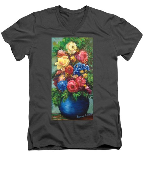 Men's V-Neck T-Shirt featuring the painting Flowers by Bozena Zajaczkowska