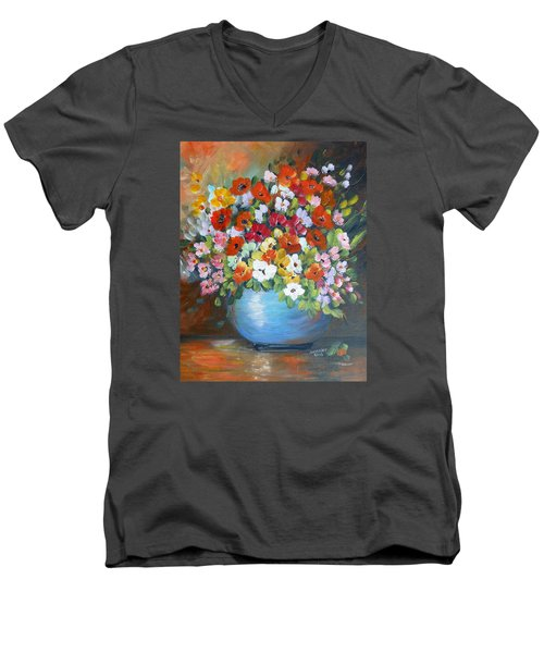 Men's V-Neck T-Shirt featuring the painting Flowers For A Friend by Dorothy Maier