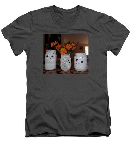 Halloween Flowers For Mummy Men's V-Neck T-Shirt by Belinda Lee
