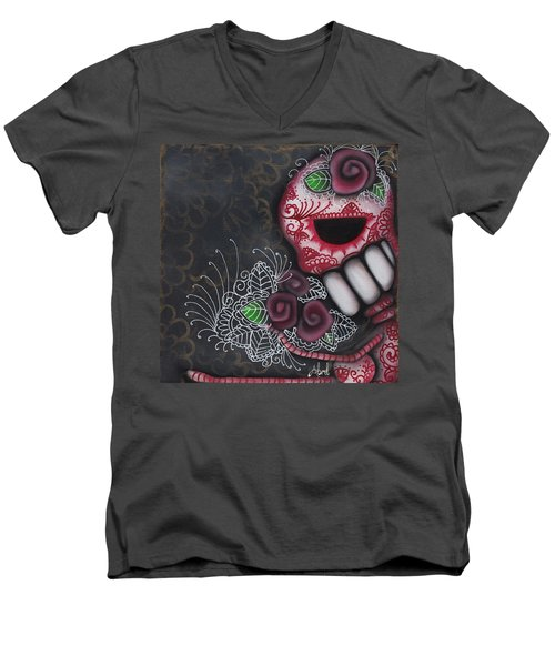 Flowers For The Dead II Men's V-Neck T-Shirt by Abril Andrade Griffith