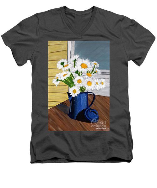 Men's V-Neck T-Shirt featuring the painting Flowers In A Teapot by Laura Forde