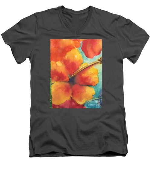 Men's V-Neck T-Shirt featuring the painting Flowers In Bloom by Chrisann Ellis