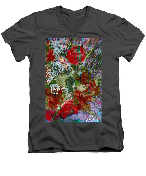 Men's V-Neck T-Shirt featuring the digital art Flowers In Bloom by Liane Wright