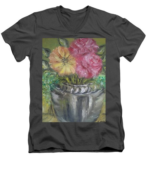 Men's V-Neck T-Shirt featuring the painting Flowers by Teresa White