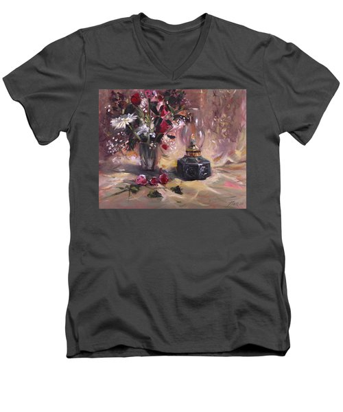 Men's V-Neck T-Shirt featuring the painting Flowers With Lantern by Nancy Griswold