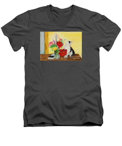 Fluff Smells The Lavender- Painting Men's V-Neck T-Shirt