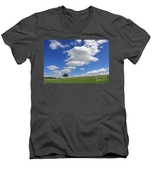 Fluffy Clouds Over Epsom Downs Surrey Men's V-Neck T-Shirt