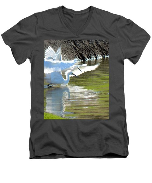 Men's V-Neck T-Shirt featuring the photograph Flurry by Deb Halloran