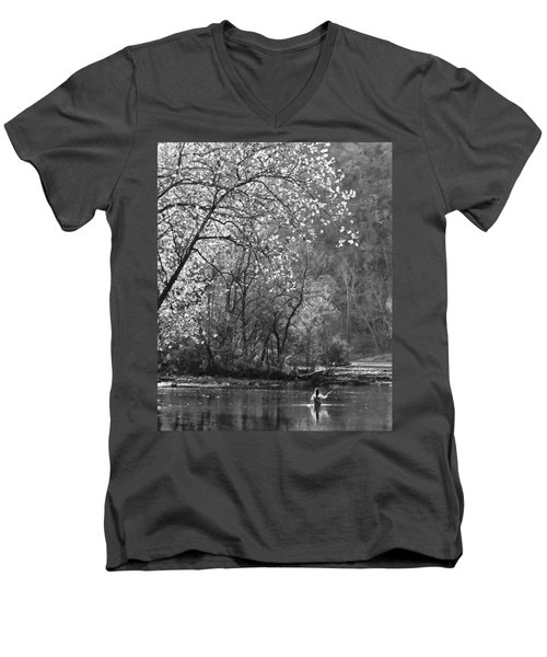 Fly Fisherwoman Bw Men's V-Neck T-Shirt by Denise Romano