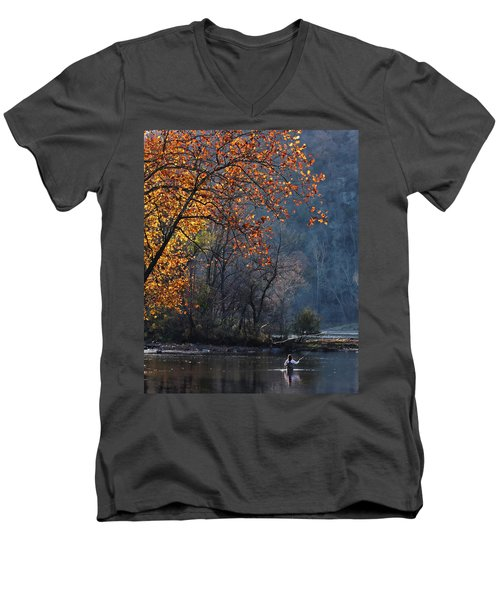Fly Fisherwoman Men's V-Neck T-Shirt by Denise Romano