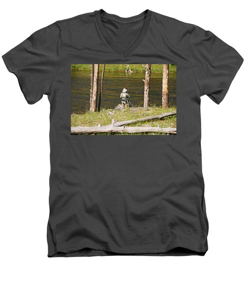 Men's V-Neck T-Shirt featuring the photograph Fly Fishing by Mary Carol Story