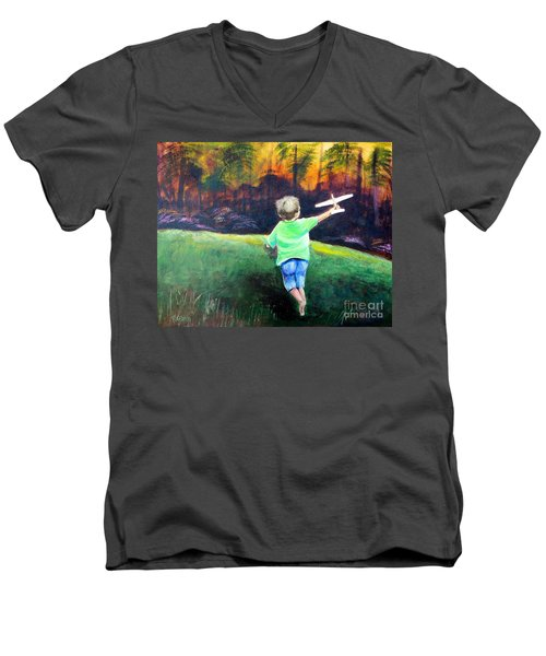 Flying High Men's V-Neck T-Shirt by Patricia Piffath