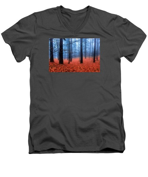 Fog On Leaves Men's V-Neck T-Shirt