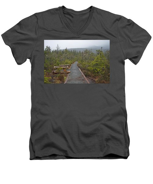 Fog On The Trail Men's V-Neck T-Shirt by Cathy Mahnke