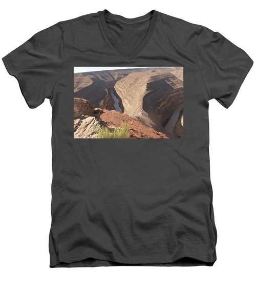 Men's V-Neck T-Shirt featuring the photograph Fog Over Gooseneck Park  by Fortunate Findings Shirley Dickerson