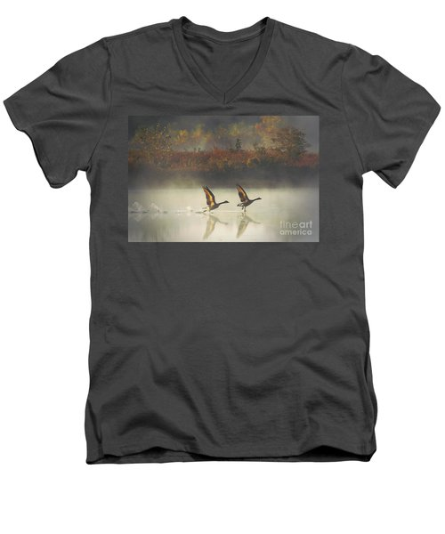 Foggy Autumn Morning Men's V-Neck T-Shirt by Elizabeth Winter