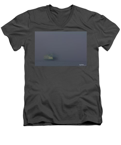 Foggy Ferry Ride Men's V-Neck T-Shirt by Charlie Duncan