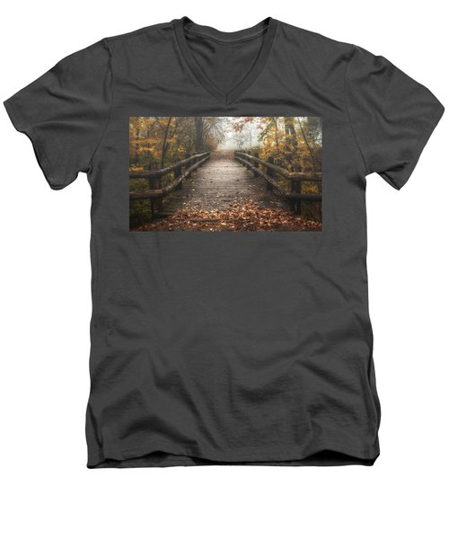 Foggy Lake Park Footbridge Men's V-Neck T-Shirt