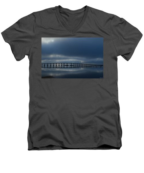 Men's V-Neck T-Shirt featuring the photograph Foggy Mirrored Navarre Bridge At Sunrise by Jeff at JSJ Photography