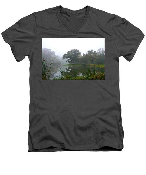 Foggy Morning At The Willows Men's V-Neck T-Shirt