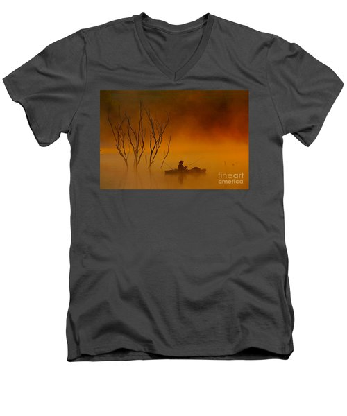 Foggy Morning Fisherman Men's V-Neck T-Shirt by Elizabeth Winter