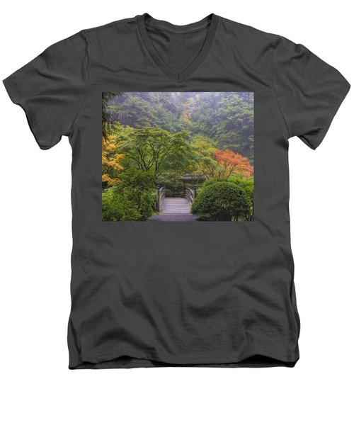 Foggy Morning In Japanese Garden Men's V-Neck T-Shirt
