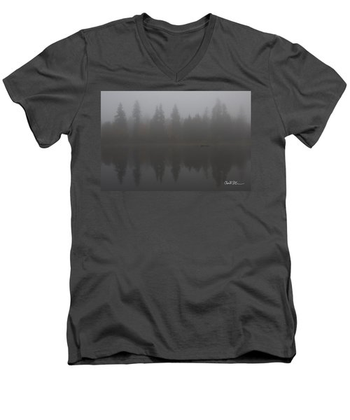 Foggy Morning On The Lake Men's V-Neck T-Shirt by Charlie Duncan