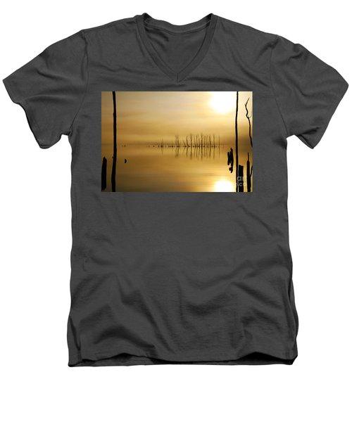 Foggy Rise Men's V-Neck T-Shirt by Roger Becker