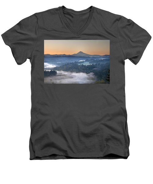Men's V-Neck T-Shirt featuring the photograph Foggy Sunrise Over Sandy River And Mount Hood by JPLDesigns