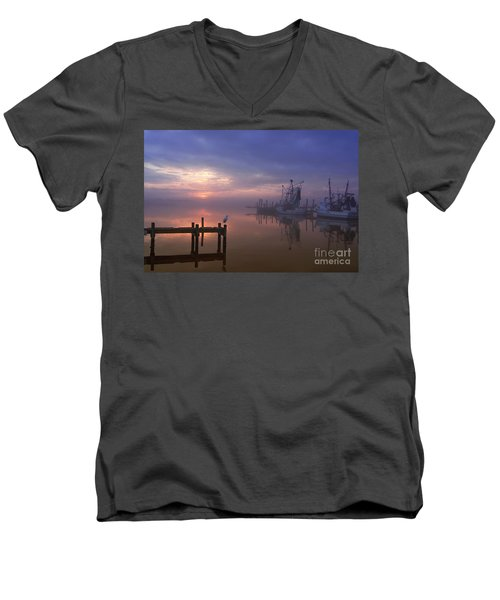 Foggy Sunset Over Swansboro Men's V-Neck T-Shirt by Benanne Stiens