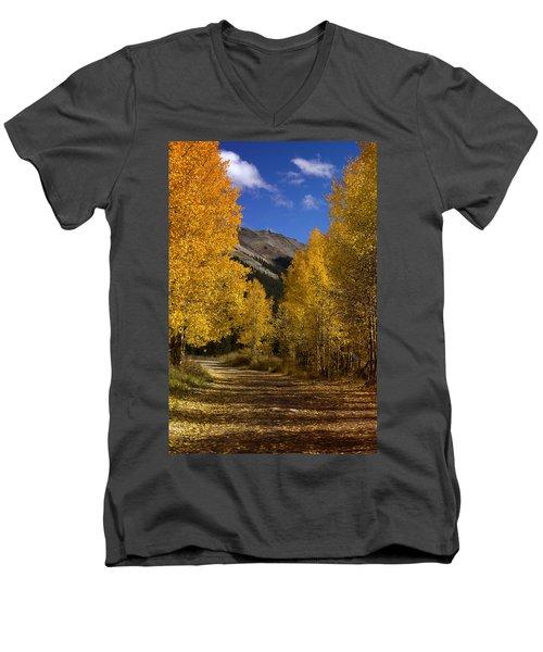 Men's V-Neck T-Shirt featuring the photograph Follow The Gold by Ellen Heaverlo