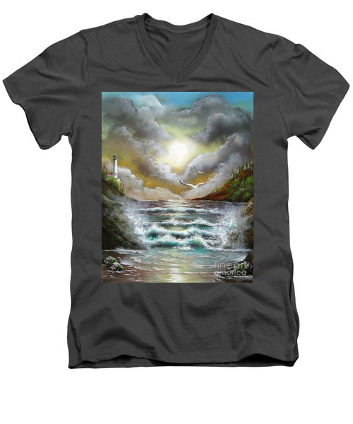 Men's V-Neck T-Shirt featuring the painting Follow The Wind by Patrice Torrillo