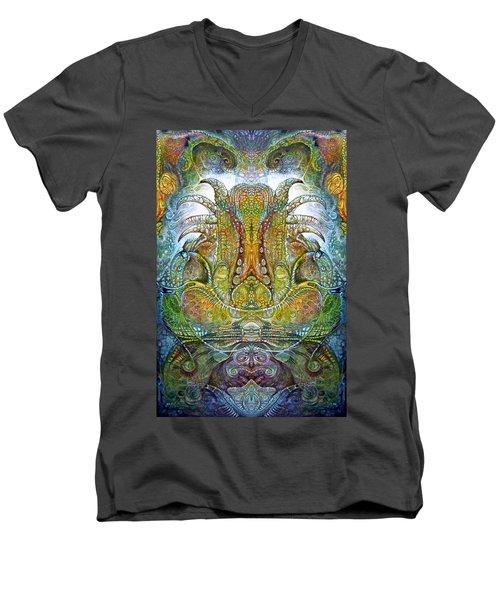 Men's V-Neck T-Shirt featuring the digital art Fomorii Throne by Otto Rapp